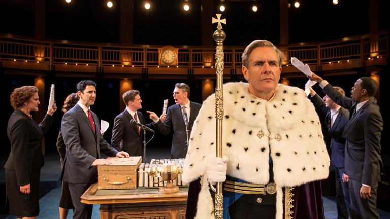 "Actor Robert Bathurst (""Downton Abbey"") portrays King Charles in ""King Charles III."" (Liz Lauren / Chicago Shakespeare Theater)"