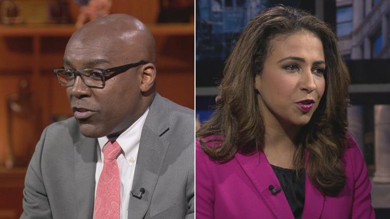 "Candidates for Illinois attorney general Kwame Raoul and Erika Harold participate in a ""Chicago Tonight"" forum on Oct. 29, 2018."