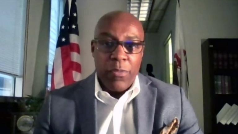 """Illinois Attorney General Kwame Raoul appears on """"Chicago Tonight"""" via Zoom on June 24, 2021. (WTTW News)"""