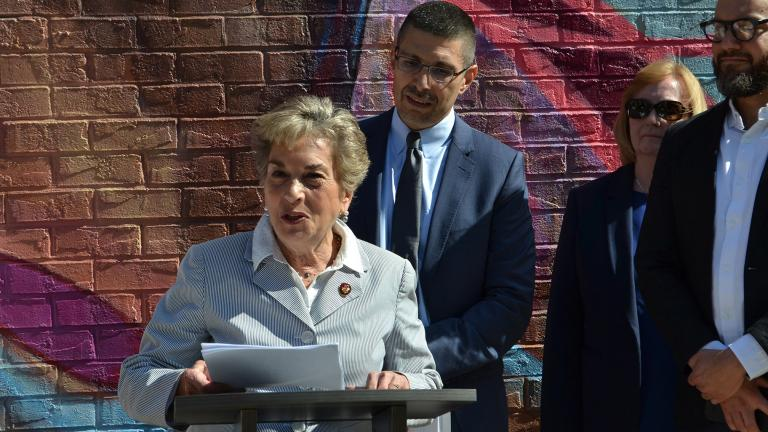 U.S. Rep. Jan Schakowsky (D-IL, 9th District) speaks outside the Howard Brown Health Center Friday, June 14 about how the Trump administration's policies are limiting LGBTQ individuals' access to health care. (Kristen Thometz / WTTW News)