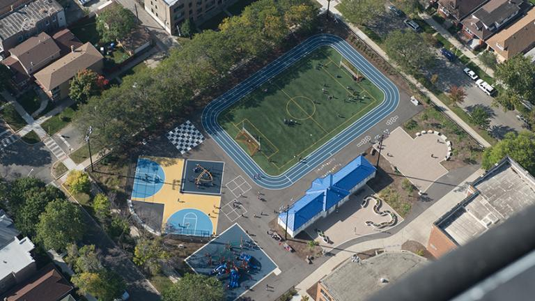 A bird's-eye view of the new soccer field, running track and basketball court at Donald Morrill Math & Science Elementary School. (Courtesy of Southwest Organizing Project, Chicago).