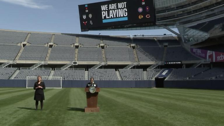 "Mayor Lori Lightfoot teams up with the city's professional sports teams to launch a new campaign, ""We Are Not Playing,"" to encourage residents to stay at home. Lightfoot announced the new campaign Monday in an empty Soldier Field. (Chicago Mayor's Office / Facebook photo)"