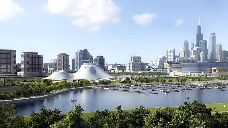 A rendering of the Lucas Museum. (Courtesy of Lucas Museum of Narrative Art)