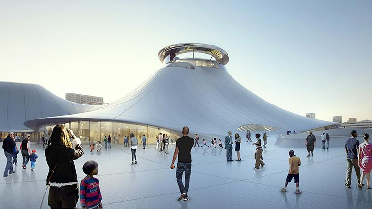 Public plaza rendering of the Lucas Museum of Narrative Art (Courtesy of the Lucas Museum of Narrative Art)