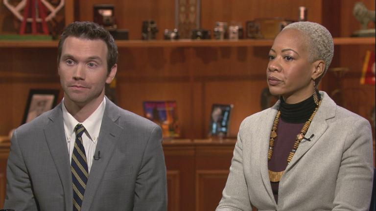 "Former Lincoln Park High School interim Principal John Thuet and the former assistant Principal Michelle Brumfield appear on ""Chicago Tonight"" on Feb. 27, 2020. (WTTW News)"