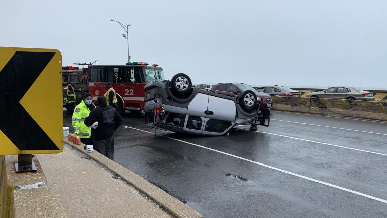 A crash shut down the southbound lanes of Lake Shore Drive on Tuesday, May 5, 2020. (Courtesy Chicago Police Department)