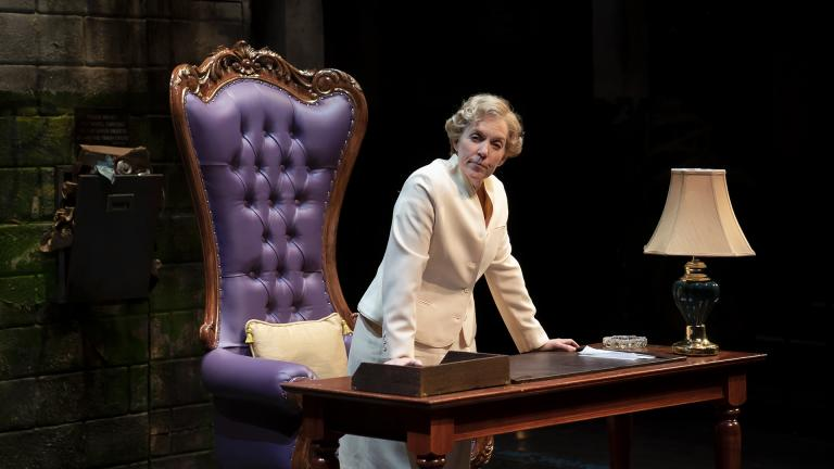 "Ensemble Member Christine Mary Dunford performs in ""Her Honor Jane Byrne."" (Photo by Liz Lauren)"