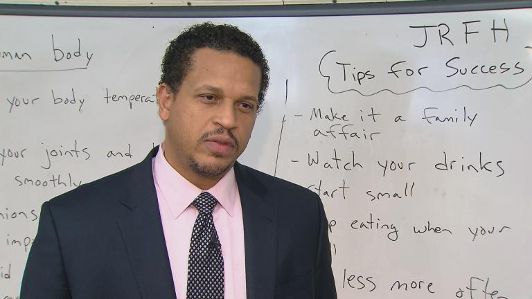 "Troy LaRaviere speaks to ""Chicago Tonight"" in February after learning details of CPS budget cuts. ""It's more than teachers losing their jobs. It's students losing a critical service,"" he said."