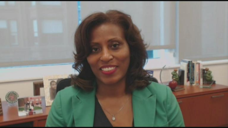 "Chicago Public Schools Chief Education Officer LaTanya McDade speaks via Zoom with ""Chicago Tonight"" on Tuesday, April 14, 2020. (WTTW News)"
