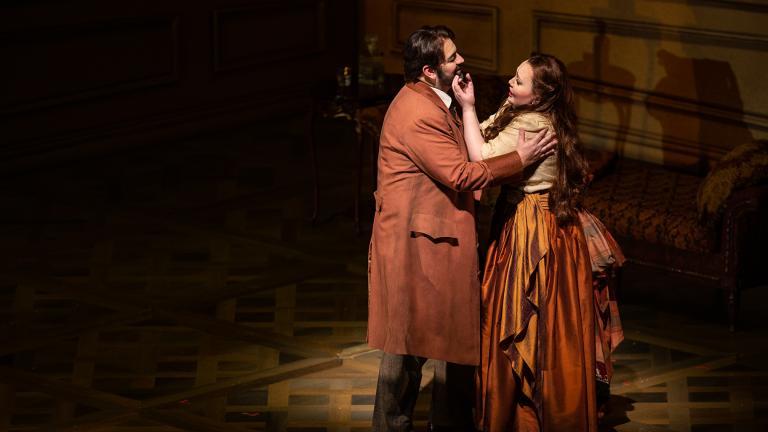 "Giorgio Berrugi and Albina Shagimuratova in ""La Traviata"" at Lyric Opera of Chicago. (Credit: Lyric Opera of Chicago)"