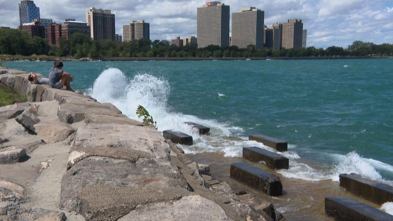 Beware of high waves on Lake Michigan near piers, jetties and other shoreline structures. (WTTW News)