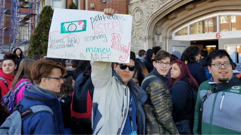 Students at Lake View High School joined their peers across the city and the nation Wednesday in a walkout protest demanding an end to gun violence. (Matt Masterson / Chicago Tonight)
