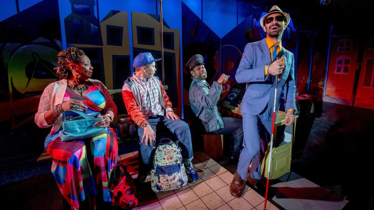 """From left: E. Faye Butler, Alejandro Medina, Breon Arzell and Jesse Bhamrah in Chicago Children's Theatre's world premiere of """"Last Stop on Market Street."""" (Photo credit: Charles Osgood)"""