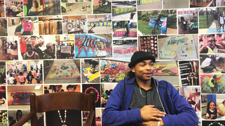 "Latee Smith was 12 years old when he joined a gang. Now 16, he's focusing on trying to ""make something positive"" out of his life. (Maya Miller / Chicago Tonight)"