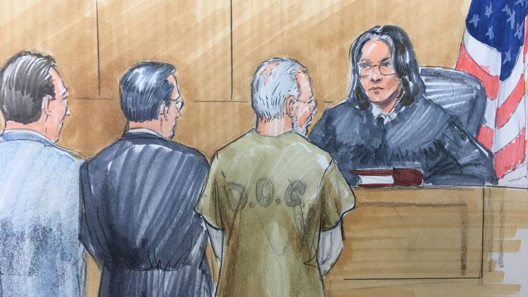 Wyndham Lathem stands with his attorneys in Cook County Circuit Court on Thursday. (Courtroom sketch by Thomas Gianni)