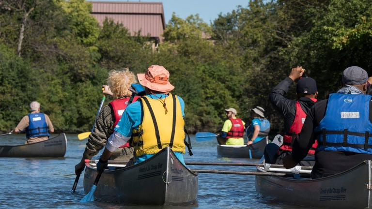 The Lathrop Riverfront Group holds a kick-off paddle along the Chicago River. (Courtesy Metropolitan Water Reclamation District of Greater Chicago)