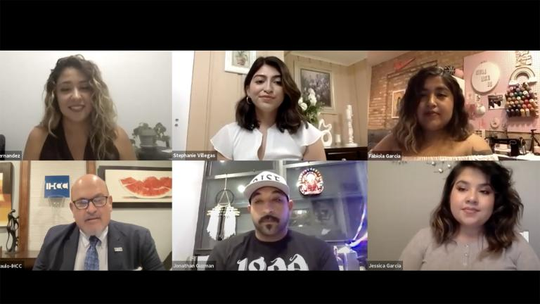 """A screenshot from the """"Latino Voices"""" community conversation on Monday, Aug. 30, 2021. (WTTW News)"""