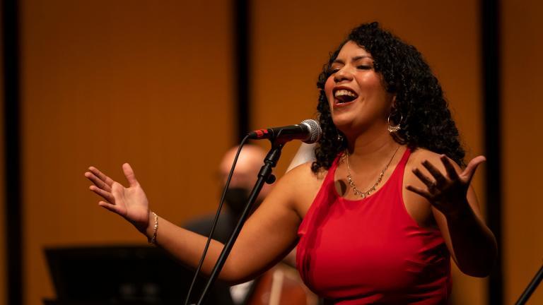"Soprano Laura María Pabón performs in ""From San Juan to Chicago: Un Puente Musical."" (Courtesy Chicago Philharmonic)"