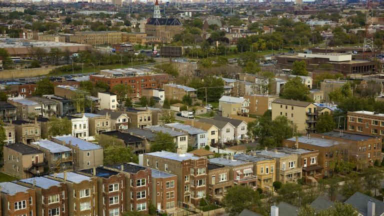 Aerial view in 2011 shows parts of North Lawndale and East Garfield Park (Ian Freimuth / Flickr)