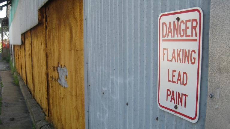A warning sign on a tool factory in Rockport, Massachusetts. (Ben+Sam / Flickr)