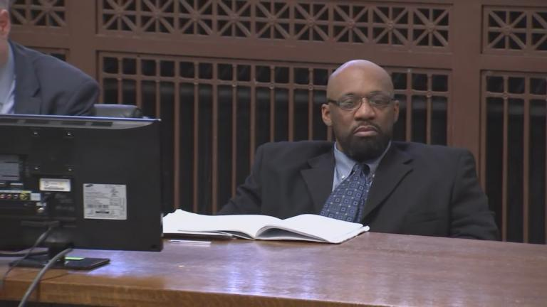 Shomari Legghette sits before Cook County Judge Erica Reddick on the first day of his murder trial on Tuesday, March 2, 2020. (Pool video)