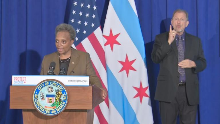 Mayor Lori Lightfoot speaks Thursday, Nov. 12, 2020 at a press conference. (WTTW News via Chicago Mayor's Office)