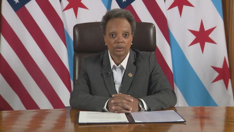 Mayor Lori Lightfoot addresses the city of Chicago in a televised address on Thursday, March 19, 2020. (WTTW News)