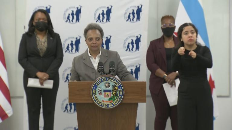 At a press conference Friday, Jan. 8, 2021, Mayor Lori Lightfoot, CPS CEO Janice Jackson and others discuss the plan to reopen schools to some students Monday, Jan. 11, 2021. (WTTW News)
