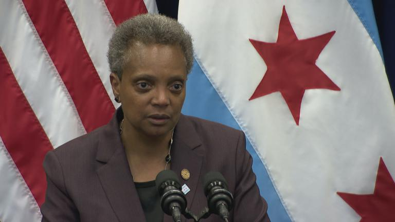 Chicago Mayor Lori Lightfoot speaks to the media following her first City Council meeting as mayor on Wednesday, May 29, 2019.