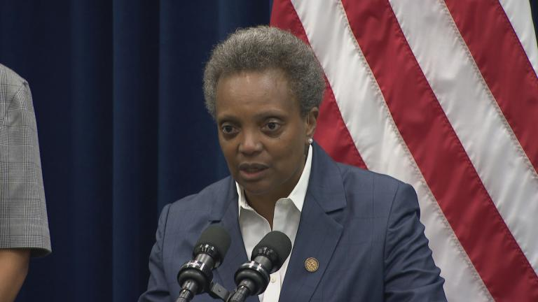 Mayor Lori Lightfoot speaks to the media following a City Council meeting Wednesday, Sept. 18, 2019. (WTTW News)