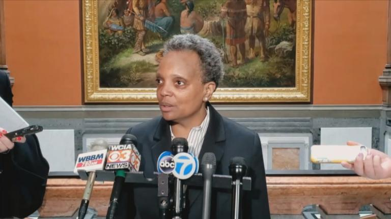 Mayor Lori Lightfoot speaks to reporters in Springfield on Tuesday, Feb. 18, 2020. (WTTW News)