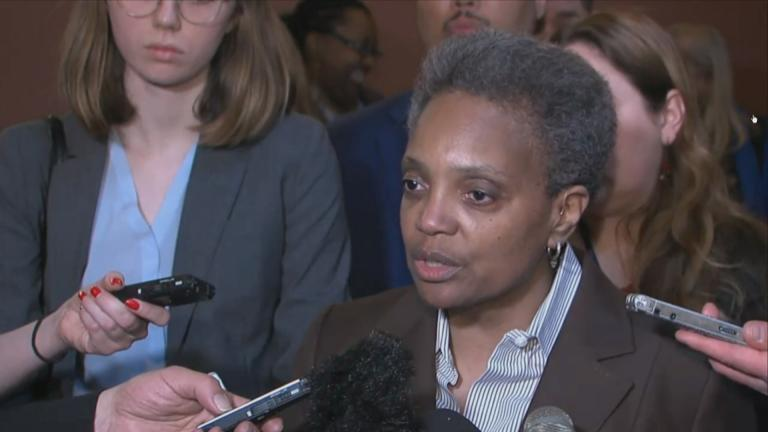Chicago Mayor-elect Lori Lightfoot speaks to the media in Springfield on Wednesday, April 10, 2019.