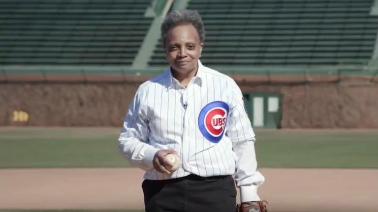 Mayor Lori Lightfoot announced the return of fans to baseball stadiums with a video posted Monday, March 8, 2021 on social media that showed her playing catch with Cubs mascot Clark and Sox mascot Southpaw. (Credit: Chicago's Mayor's Office)