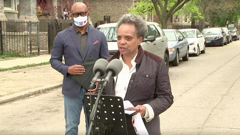 A screenshot from a May 2, 2020 livestream with Mayor Lori Lightfoot and Chicago Police Superintendent David Brown in the city's West Garfield Park neighborhood. (Chicago Mayor's Office)