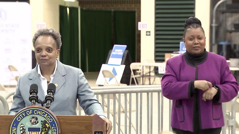 Mayor Lori Lightfoot addresses the news media at the Chicago State University mass vaccination site on Tuesday, April 20, 2021. (WTTW News via Chicago Mayor's Office)