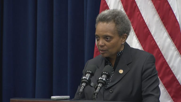 """They offered up black ministers $54 million – a one-time deal – if they would convince the mayor to do away with any other kind of regulation,"" Mayor Lori Lightfoot said Wednesday, Nov. 13, 2019. (WTTW News)"