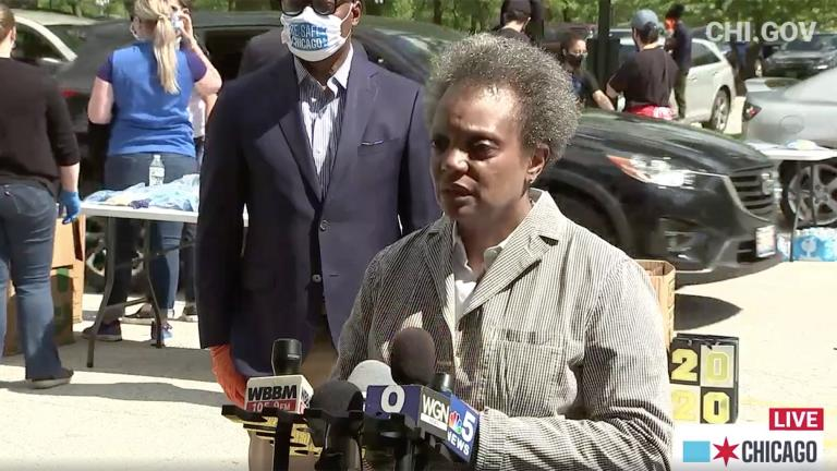 Chicago Mayor Lori Lightfoot speaks to the media Saturday, May 30, 2020, the morning after protests over the death of George Floyd took place downtown. (Chicago Mayor's Office / Facebook)