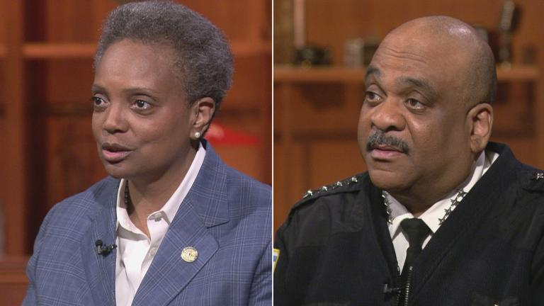 "Mayor Lori Lightfoot and Chicago Police Superintendent Eddie Johnson on ""Chicago Tonight"" during separate appearances in 2019. (WTTW News)"