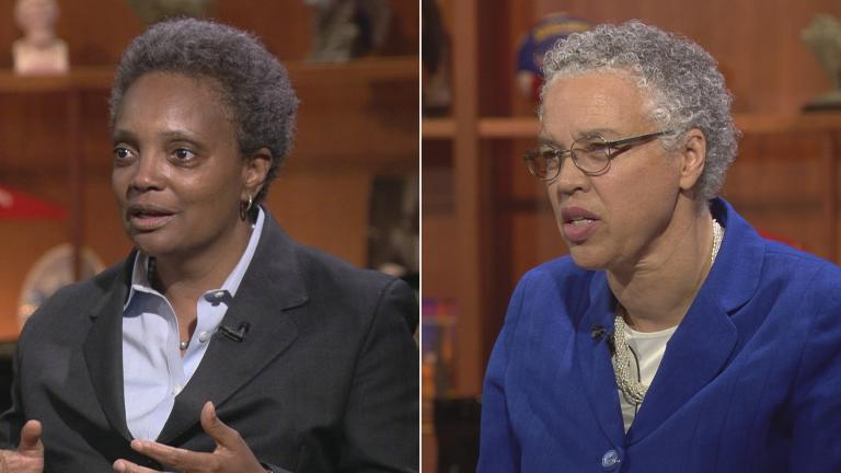 "Mayoral candidates Lori Lightfoot, left, and Toni Preckwinkle appear on ""Chicago Tonight"" on May 14, 2018 and Oct. 16, 2017, respectively."