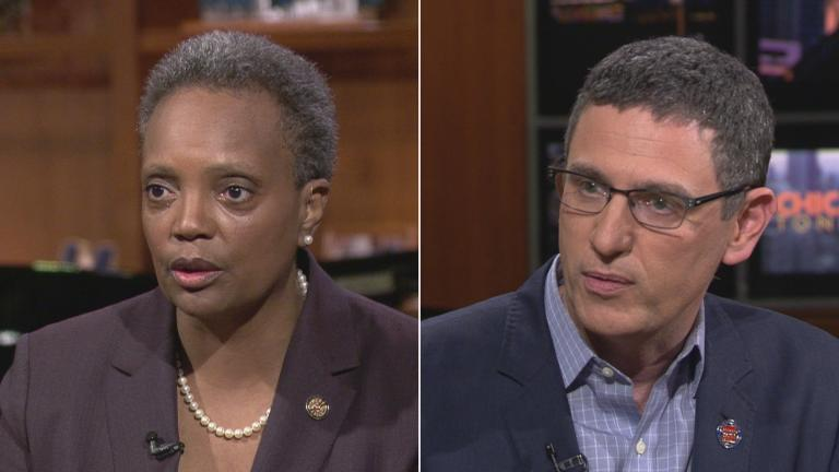 "Chicago Mayor Lori Lightfoot and Chicago Teachers Union President Jesse Sharkey appear on ""Chicago Tonight,"" separately, on Thursday, Oct. 9, 2019."
