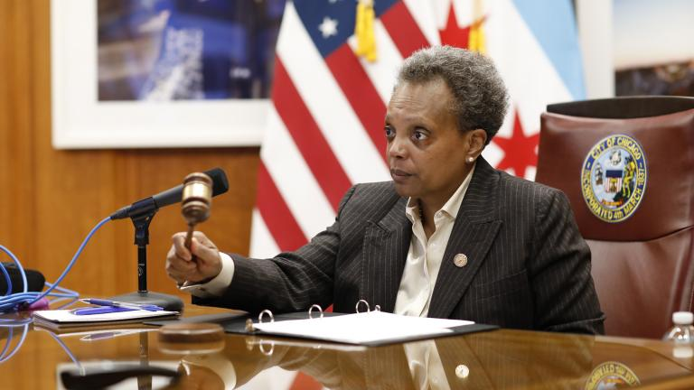 Mayor Lori Lightfoot presides over a virtual City Council meeting on Wednesday, April 15, 2020. (@chicagosmayor / Twitter)