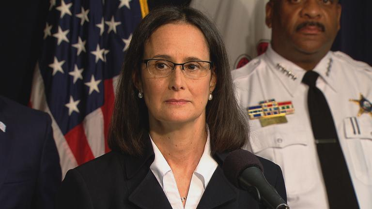 Illinois Attorney General Lisa Madigan announces a lawsuit against the city of Chicago on Aug. 29, 2017.