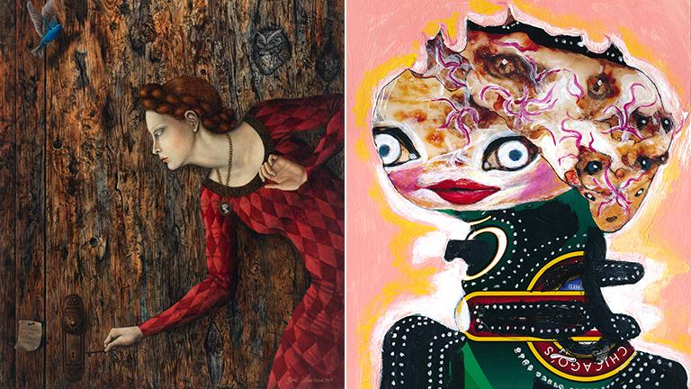 """""""The Unknown Room"""" by Gina Litherland, left, and """"Lady Fukushima"""" by Paul Lamantia."""
