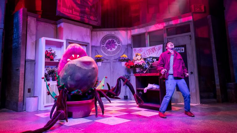 "Sam Woods (puppet) and Christopher Kale Jones in ""Little Shop of Horrors."" (Photo credit: Brett Beiner)"