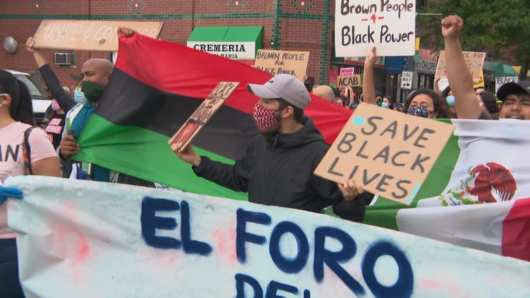 A solidarity march in Little Village on Wednesday, June 3, 2020. (WTTW News)