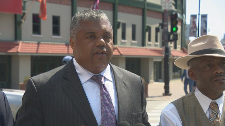 The Rev. Gregory Seal Livingston on Tuesday announces plans for an anti-violence protest Aug. 2 along Lake Shore Drive. (Chicago Tonight)