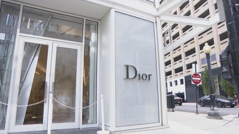 Broken windows at a Dior store in downtown Chicago on Monday, Aug. 10, 2020. (WTTW News)