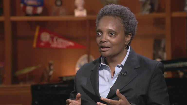 "In this May 14, 2018 file photo, Lori Lightfoot talks about bid for Chicago mayor on ""Chicago Tonight."" One year later, Lightfoot is preparing for her May 20, 2019 inauguration as Chicago mayor."