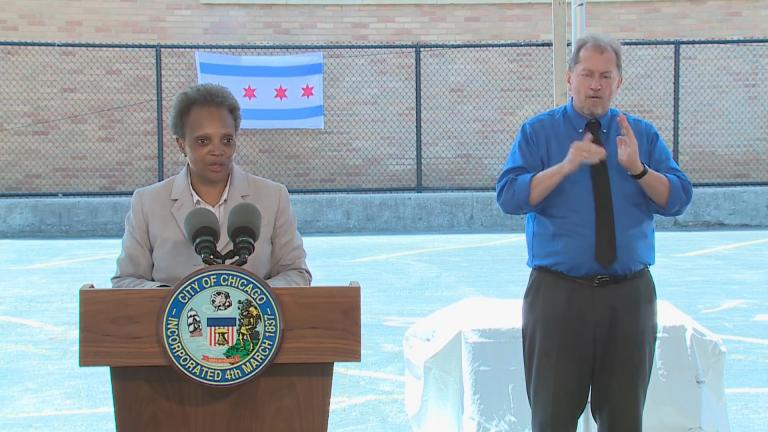 Mayor Lori Lightfoot speaks to the media on Wednesday, July 1, 2020. (WTTW News)