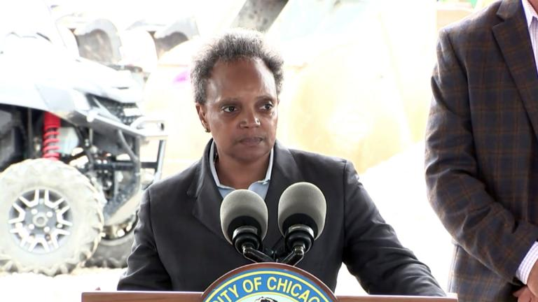 Mayor Lori Lightfoot speaks about crime and violence on Thursday, July 15, 2021. (WTTW News via Mayor's Office)